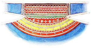 Gákti - A pattern of a metal embroidered collar for a traditional male Sámi gákti from Åsele, Västerbotten, Sweden. The metal thread most commonly used for the embroidery is Pewter.