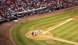 2000 Chicago Cubs season - Sammy Sosa at bat during a September 2000 away game against the season's eventual National League Central Division champions St. Louis Cardinals at Busch Memorial Stadium.