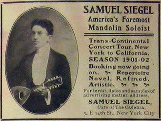 Samuel Siegel - A 1902 advertisement for a concert tour for Samuel Siegel, from The Cadenza.
