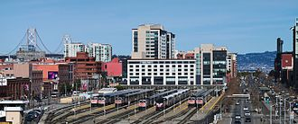 San Francisco 4th and King Street Station - View of the rail approach and branching at the terminal taken from the south, 2008