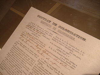 Immigration to Argentina - Copy of a colonization contract in the history museum of San José, Entre Ríos