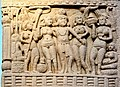 Sanchi King Ashoka with his Queens, South Gate, Stupa no. 1.jpg