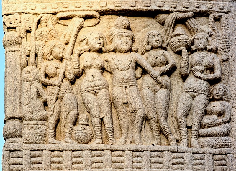 Sanchi King Ashoka with his Queens, South Gate, Stupa no. 1.jpg