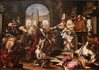 Theodosius Repulsed from the Church by Saint Ambrose