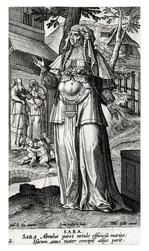 "Jan Collaert II -  ""Sara"" engraving by Jan Collaert II, from Icones Illustrium Feminarum Veteris Testamenti, book published in 1591 in Antwerp"