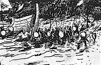 Saracen - Saracens landing on a coast, 915