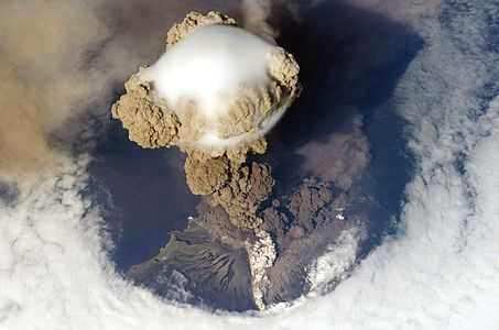 Sarychev Peak Volcano erupts June 12, 2009, on Matua Island