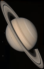 A picture of Saturn taken by Voyager 2.