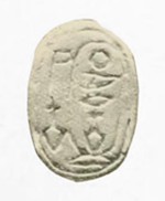 Green glazed steatite scarab of Merneferre Ay, British Museum. Scarab Merneferre EA16567 Hall.png