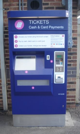 Scheidt & Bachmann Ticket XPress - Machines have steel casing and touchscreens at a suitable height for wheelchair users.  This example is at Tilbury Town and has the c2c company's livery.