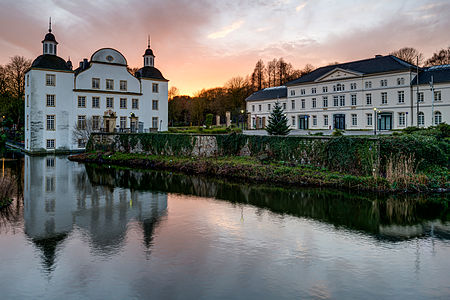 Castle of Borbeck with outbuilding in the evening
