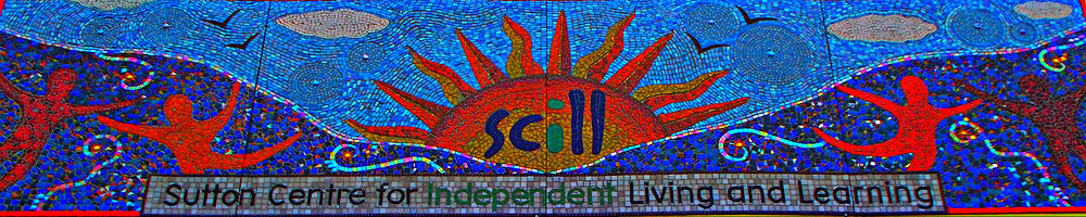 Mosaic on the side of the Sutton Centre for Independent Living and Learning (Scill)