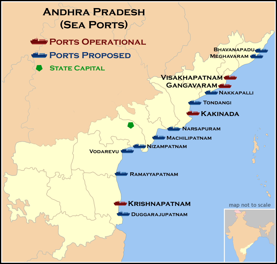 Seaports Map of Andhra Pradesh