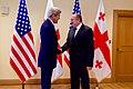 Secretary Kerry and Georgian President Giorgi Margvelashvili Shake Hands Before a Bilateral Meeting in Tbilisi (27512788853).jpg