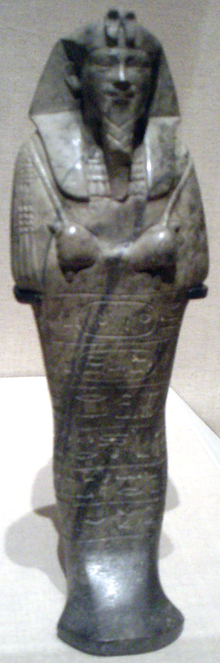 Figurine of the King Senkamanisken, Napata period ca. 643-623 BCE Senkamenisken-Shabti BrooklynMuseum.png