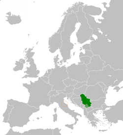 Map indicating locations of Serbia and San Marino