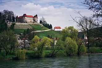 "Sevnica - Sevnica Castle with the ""Lutheran Cellar"", where the Slovene Protestant author Jurij Dalmatin preached in the 16th century"