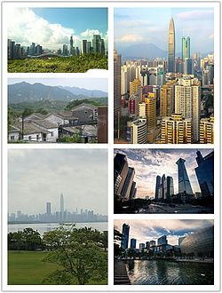 Clockwise from top: Luohu District skyline with KK100 and Shun Hing Square in the center, Skyscrapers along Shennan Road including the China Merchants Bank Tower and East Pacific Center, Central Nanshan District, Skyline of Futian as viewed from Shenzhen Bay Park, a view from Dapeng Fortress and Central Futian as viewed from Lianhuashan Park
