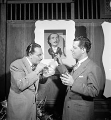 Shep Fields and Tex Beneke, Glen Island Casino, New York, N.Y., May 16, 1947 (William P. Gottlieb).jpg