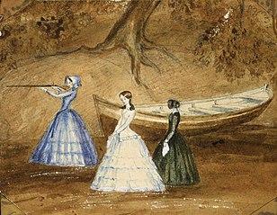 [Shooting party], Mansion House, Kawau [Island] 1853.