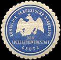 Siegelmarke Königlich Preussische Direktion der Artilleriewerkstatt Deutz W0238217.jpg