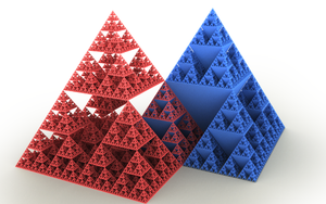 Sierpinski triangle - A Sierpinski square-based pyramid and its 'inverse'