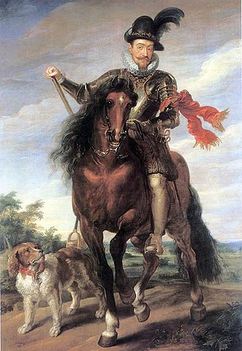 Sigismund III Vasa enjoyed a long reign, but his actions against religious minorities, expansionist ideas and involvement in dynastic affairs of Sweden, destabilized the Commonwealth. Sigismund at horse.jpg