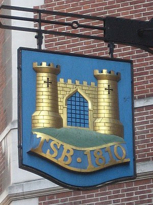 Trustee Savings Bank - The TSB sign at the former Lombard Street headquarters in the City of London.