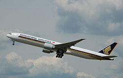 Singapore Airlines Boeing 777 (9V-SWQ) departs London Heathrow Airport 2July2014 arp.jpg