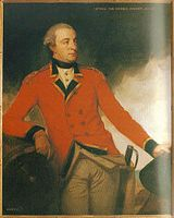 Portrait of a man in a red military uniform with dark blue turnbacks leaning on his right elbow and holding a hat in his right hand