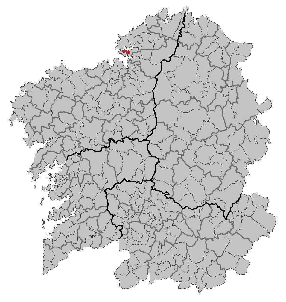 Vị trí của Mugardos bên trong Galicia