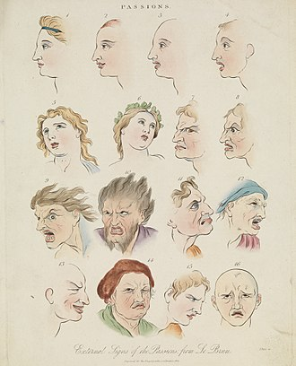 Emotion - Sixteen faces expressing the human passions-coloured engraving by J. Pass, 1821, after Charles Le Brun