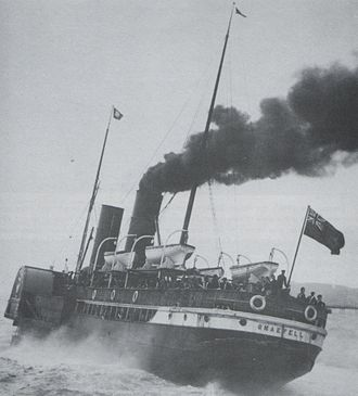 SS Snaefell (1876) - Snaefell pictured departing Ramsey, with troops embarked.