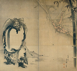Soga Shohaku, Japanese (1730–1781), Shoki Ensnaring a Demon in a Spider Web, 18th century, Japan, Edo period, Two-fold screen; ink on paper, Kimbell Art Museum.jpg