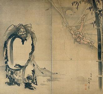 Soga Shōhaku - Shoki Ensnaring a Demon in a Spider Web by Soga Shōhaku. Ink on papered folding screen. Photograph by Kimbell Art Museum.