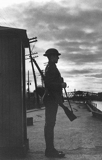 Lachine Canal - A soldier guarding the canal during wartime in 1939