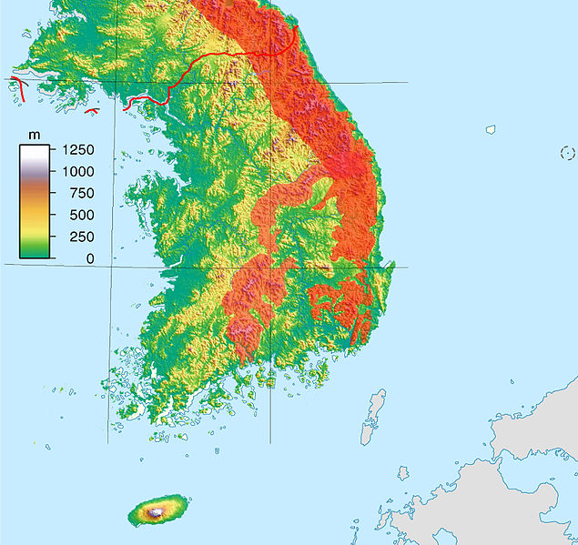 File:South Korea location map topography with taebaek and sobaek mountains marked.jpg