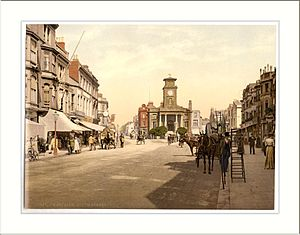 Worthing - Photochrom print of South Street in the 1890s, showing the Old Town Hall