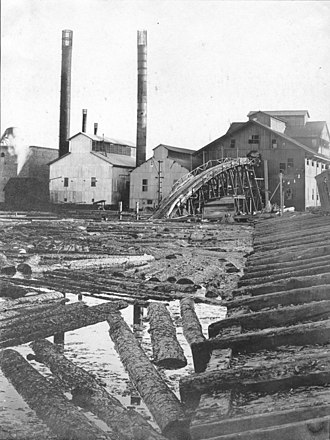 History of Texas forests - Southern Pine Lumber Company sawmill and millpond, circa 1907