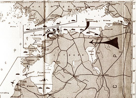 Schematics of the Soviet naval military blockade of Estonia and Latvia in 1940. (Russian State Naval Archives) SovietBlockade1940.jpg