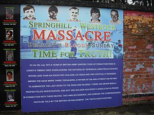 Springhill Massacre - Poster demanding an inquiry in the Beechmount area of Belfast