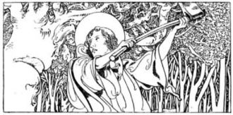 Donar's Oak - A depiction of Boniface destroying Thor's oak from The Little Lives of the Saints (1904), illustrated by Charles Robinson.