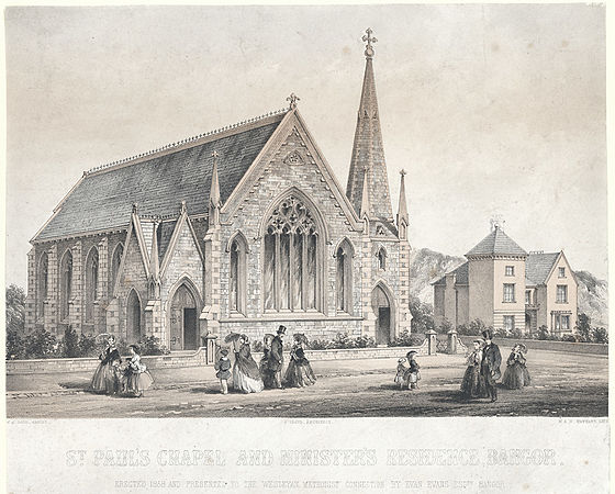 St. Paul's Chapel and minister's residence, Bangor - errected in 1858 and presented to the Wesleyan Methodist Connection by Evan Evans esqre. Bangor.jpeg