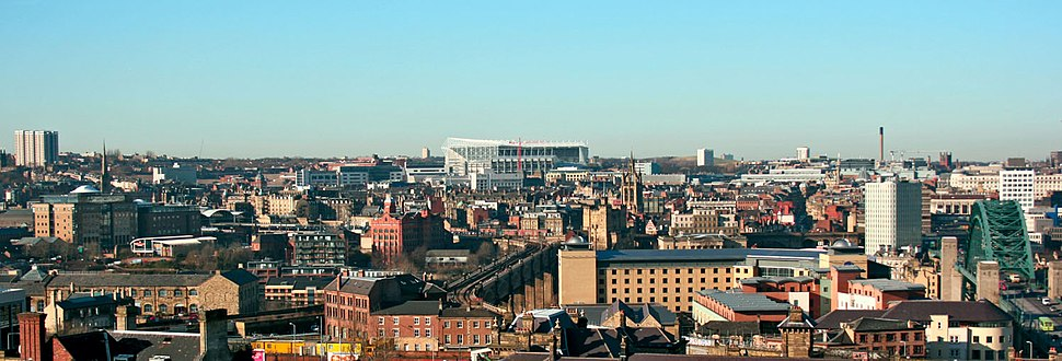 St James Park Newcastle as seen from south of the River Tyne