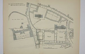 Bridge Street, Cambridge - Image: St John's College Old 1886 Map
