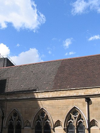 St Etheldreda's Church - War-time bomb damage repair to roof; south-facing aspect