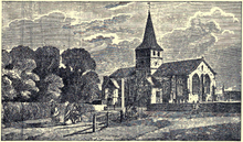 Drawing of the Church of St Lawrence, Alton (1830)