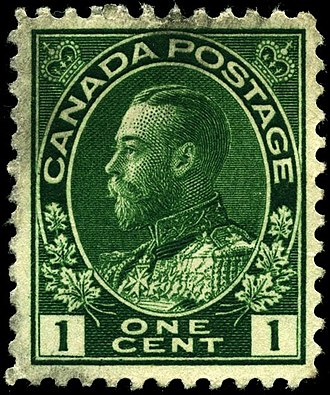 Canadian royal symbols - King George V on a 1 cent stamp (1912). Images of the reigning monarch have been printed on Canadian postage stamps since 1851.
