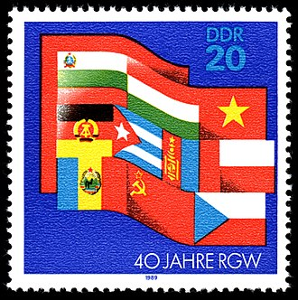 Comecon - An East German stamp celebrating the 40th anniversary of Comecon in 1989