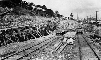 English: Construction of railway tracks at Rom...